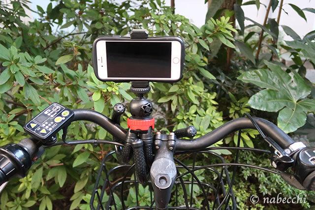 自転車にミニ三脚で固定しスマホ撮影