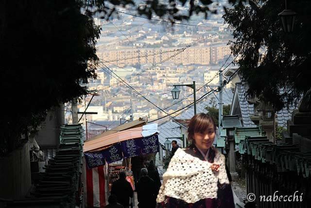 宝山寺に着物で初詣