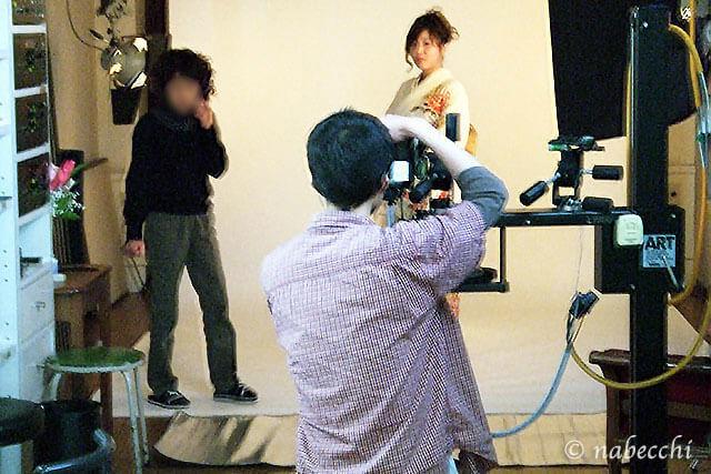 写真スタジオで着物写真撮影