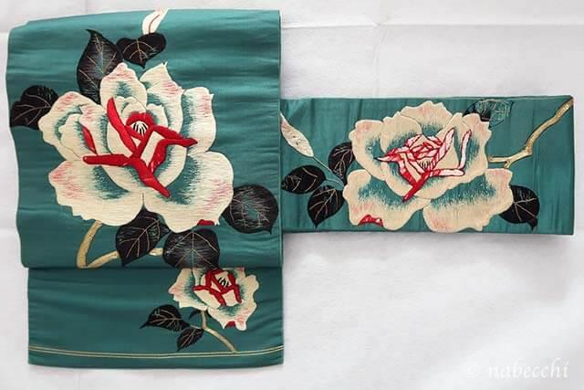 アンティーク バラ刺繍 名古屋帯