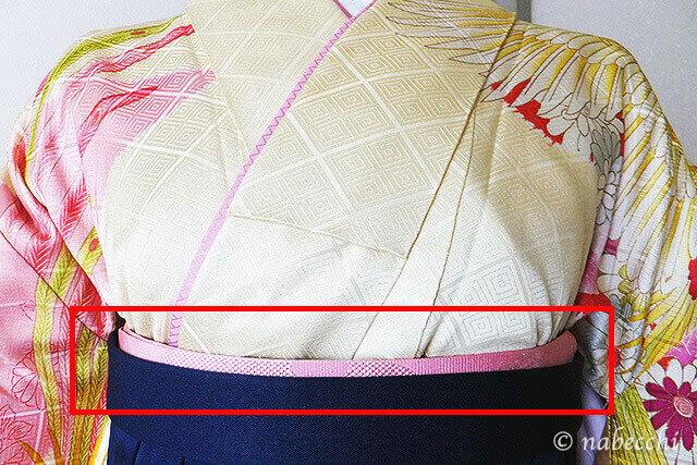 女性用袴着せ付け 前紐位置