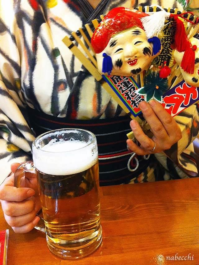 えべっさんお飾りと生ビール