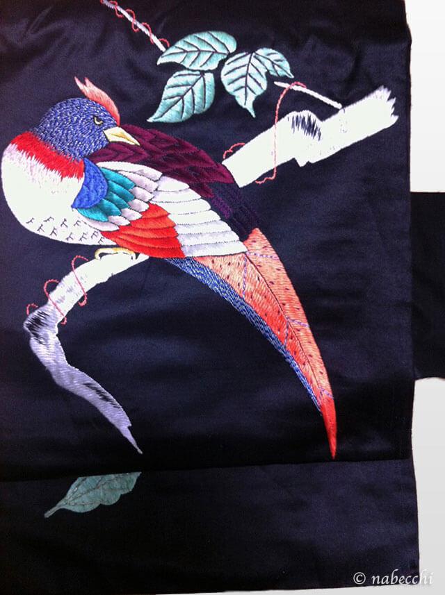 黒繻子キジ刺繍帯