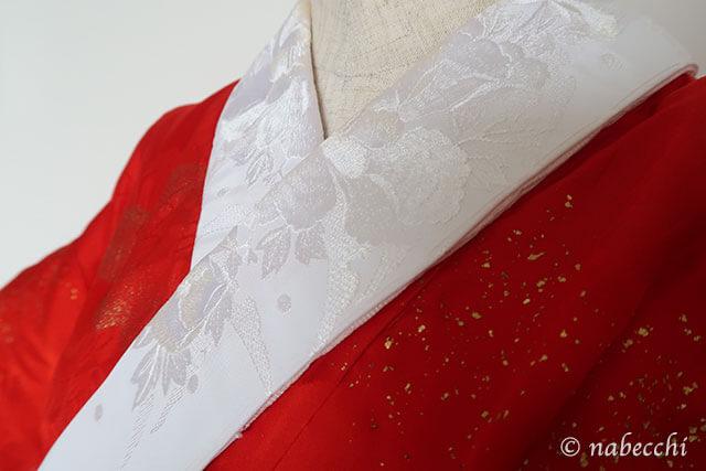牡丹柄 刺繍入り半衿