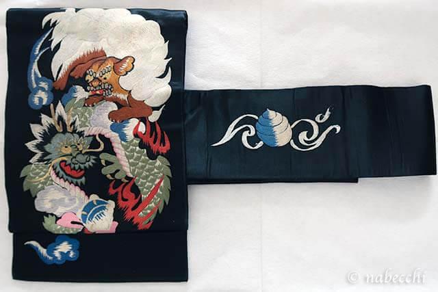 獅子柄刺繍アンティーク繻子帯