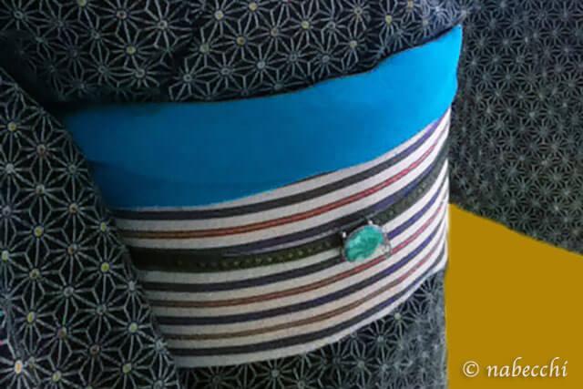 麻の葉柄ウール着物と縞半幅帯コーディネート