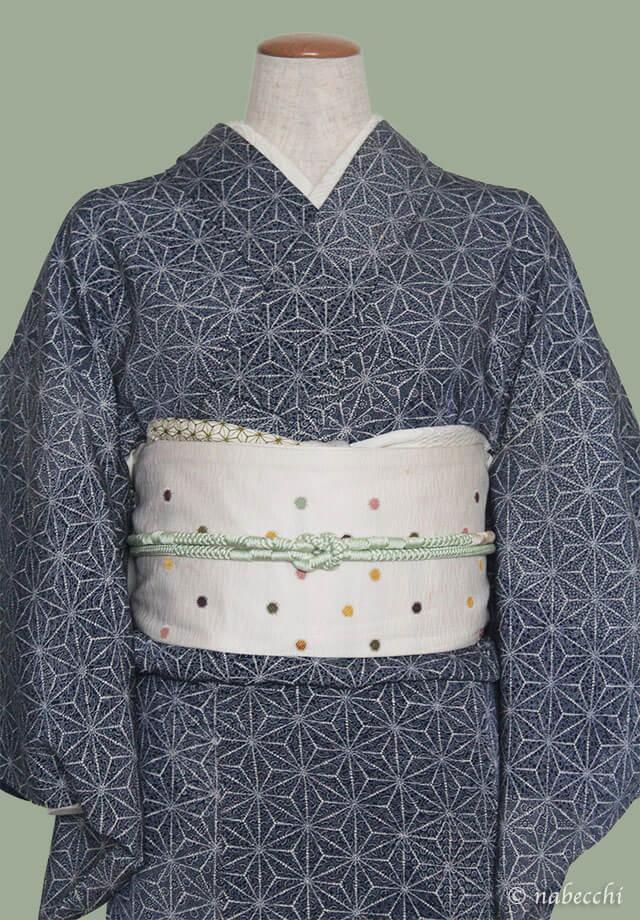 ライムグリーンの帯締めと白の麻の葉柄帯揚げ 麻の葉柄着物コーディネート