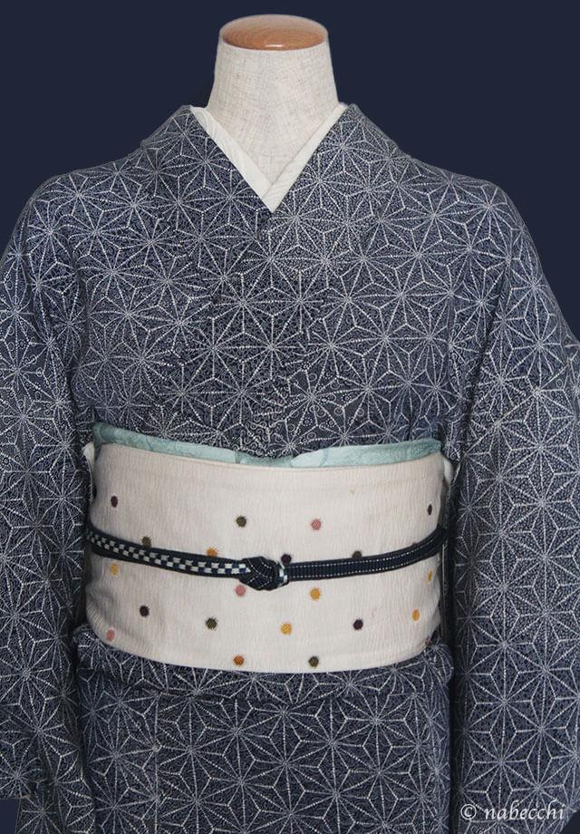 濃紺の帯締めとスカイブルーの帯揚げ 麻の葉柄着物コーディネート