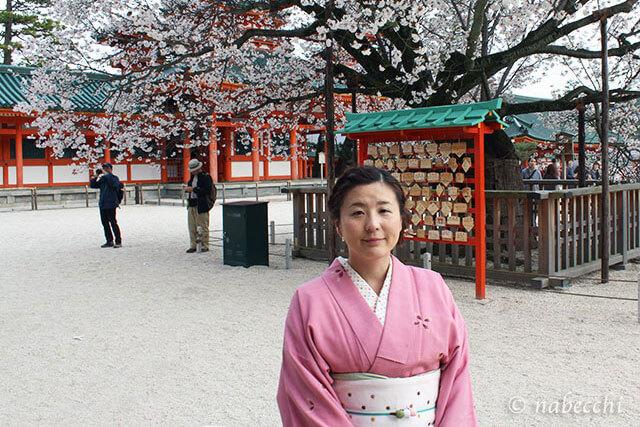 平安神宮の桜 お召着物で花見