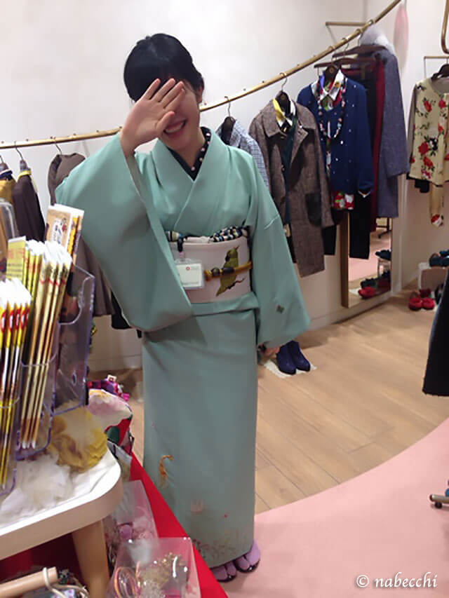 着物ふりふ店員さんのミントカラー着物コーディネート