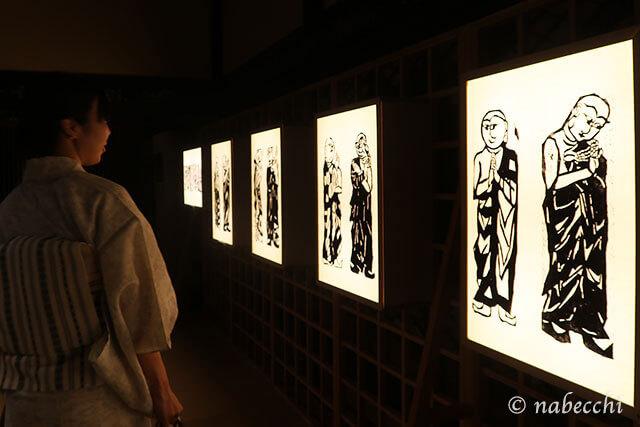 版画あかり行燈「和のあかり×百段階段展2017」