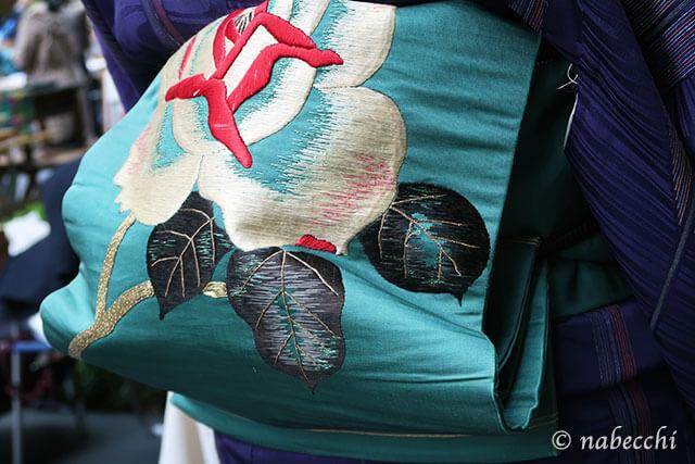 バラ柄刺繍名古屋帯