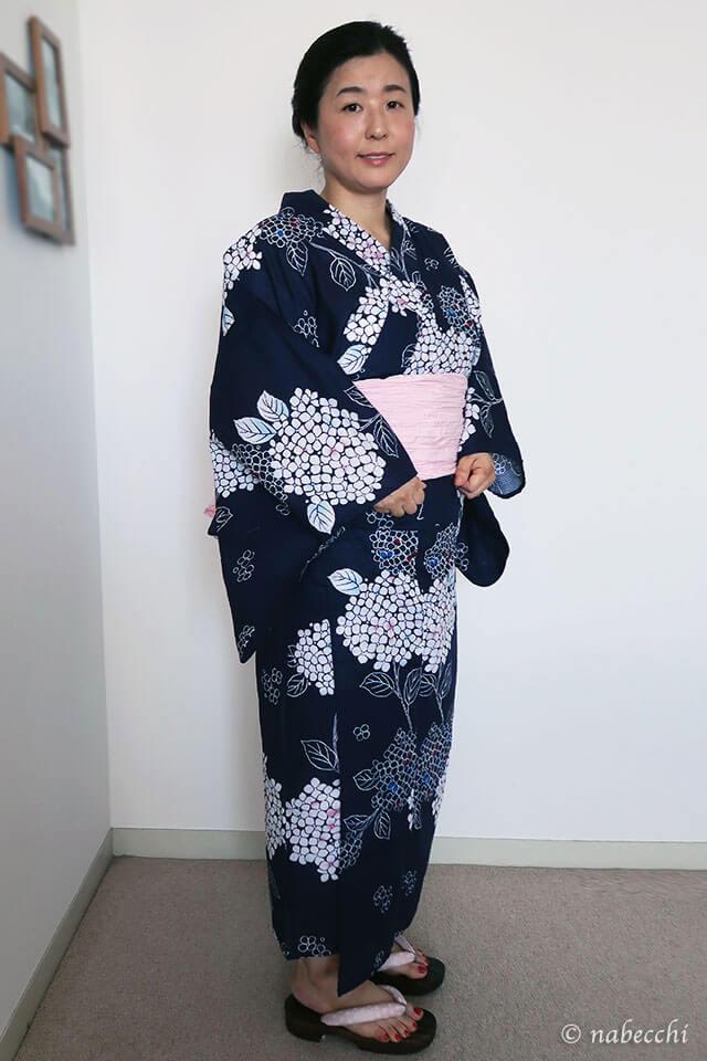 40代 兵児帯桜色 × 浴衣 bonheur saisons Jec 夏しぐれ 蛍 浴衣セット