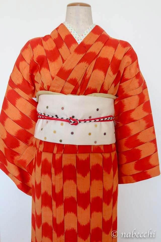 オレンジ矢絣柄ウール着物 × 水玉柄名古屋帯