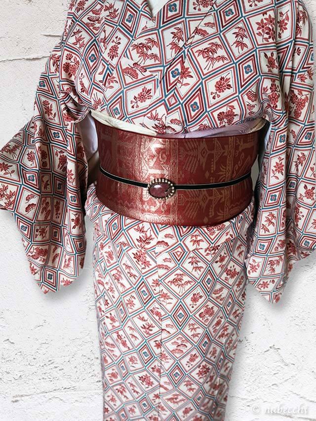 小紋着物にメタリックな赤銅色袋帯コーディネートが合わない