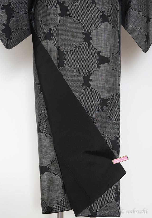 大島紬 八掛赤から黒に取替