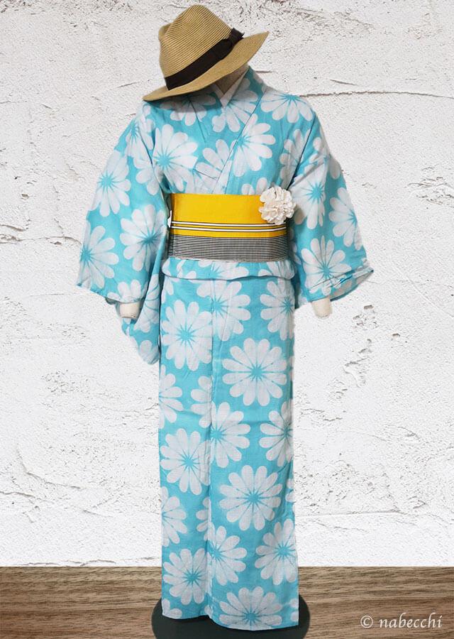 綿麻花柄水色浴衣✗博多半幅帯