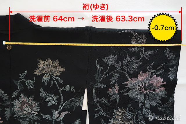 正絹羽織を洗濯機洗った結果 裄サイズの変化
