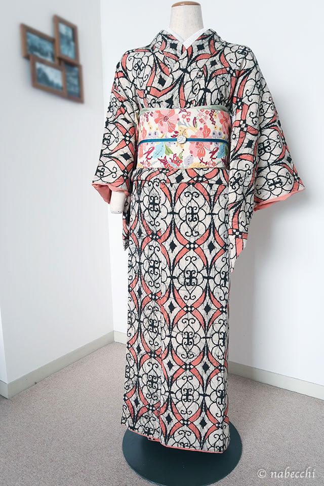 紅型名古屋帯×アンティーク着物 帯周り青系コーディネート
