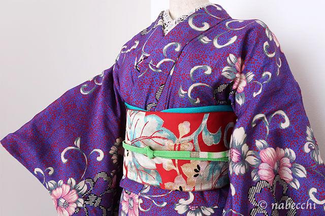アンティーク着物コーディネート1 紫×赤