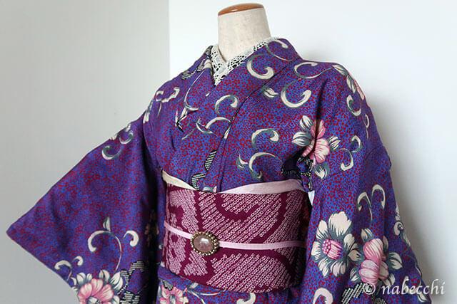 アンティーク着物コーディネート3 紫×紫