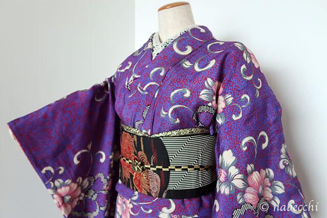 アンティーク着物コーディネート4 紫×黒
