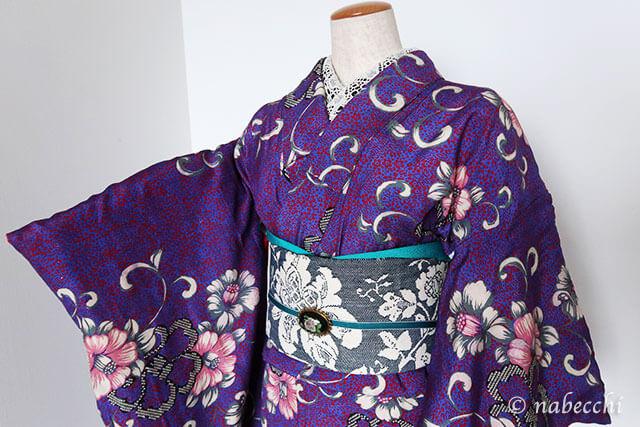 アンティーク着物コーディネート5 紫×紺