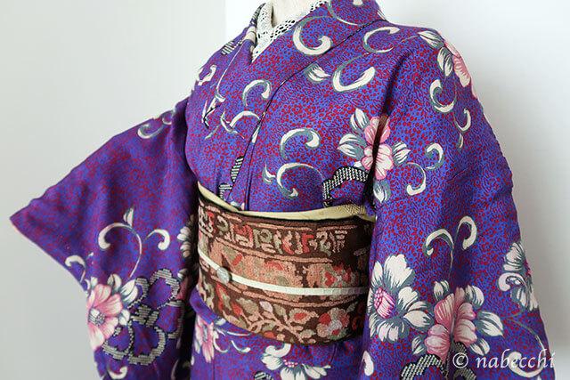 アンティーク着物コーディネート6 紫×赤茶