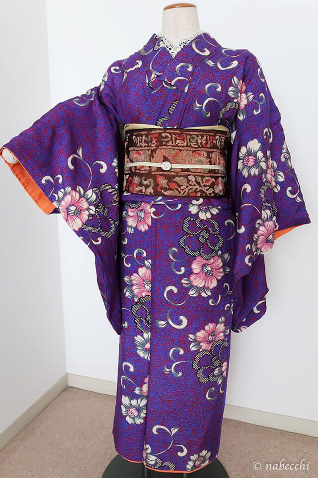 茶色 正倉院柄 織り名古屋帯×アンティーク着物 前姿