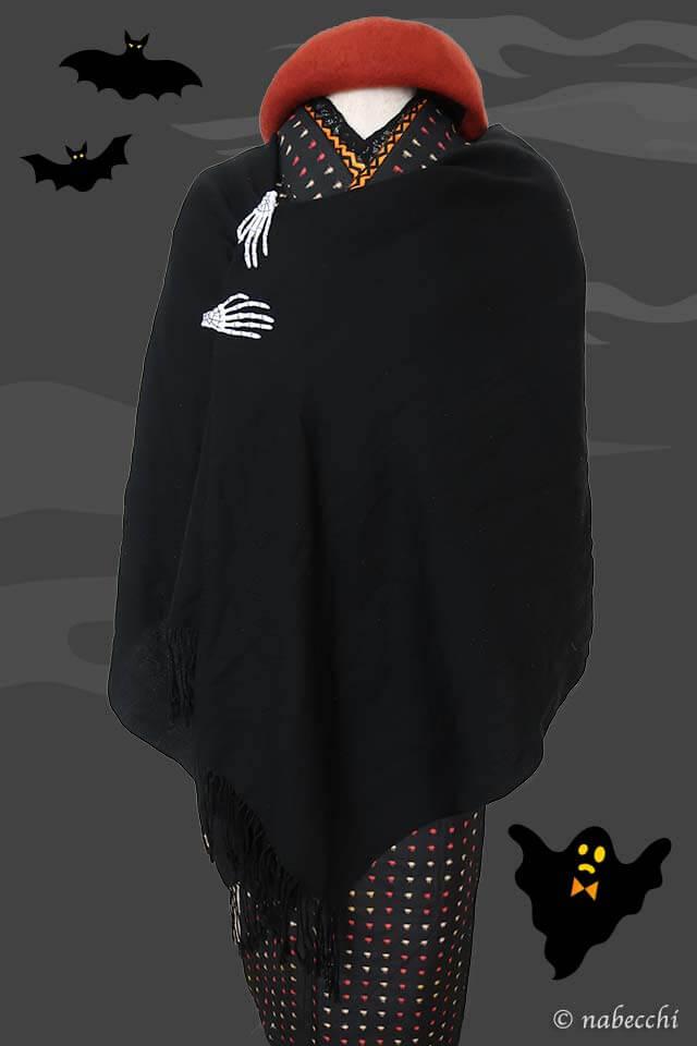 ハロウィン着物コーディネート 大判ストールでマント風