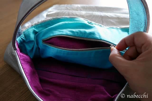 銀帯バッグのカラフルな内生地