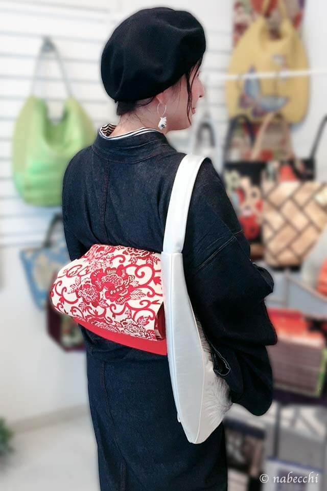 若松葉文様袋帯バッグで着物コーディネート