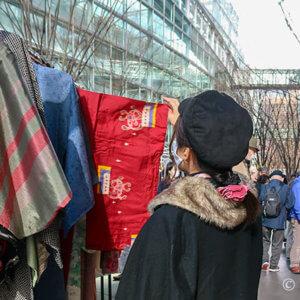 銘仙着物好き2人で大江戸骨董市へ行ったら。お互いの新春の戦利品
