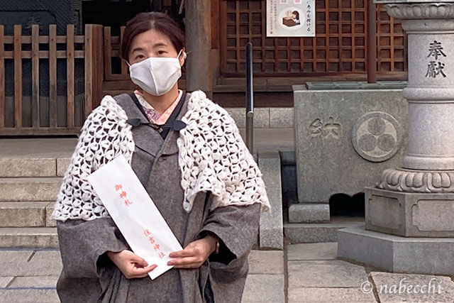 着物ポンチョを羽織り住吉神社へ