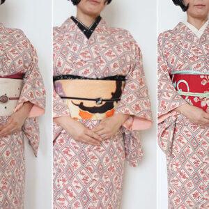 40代の小紋コーデ。着物一枚に帯三本
