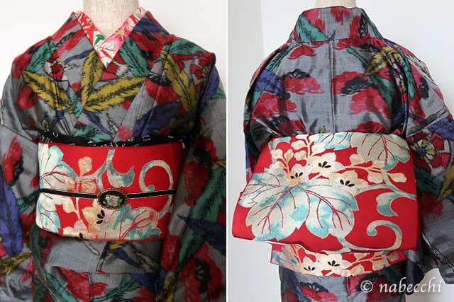 サイケな銘仙着物に赤のアンティーク袋帯