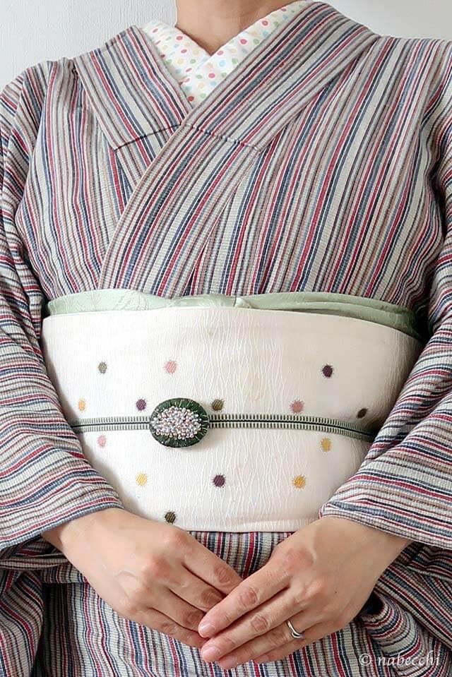 赤系阿波しじら着物に白い帯コーデ3