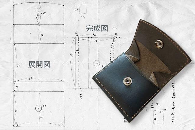 レザークラフト コインケース型紙イメージ