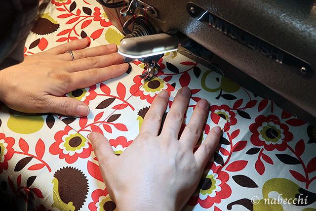 ミシンで内ポケットを縫う