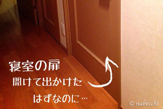 閉じられた寝室の扉