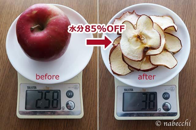 ドライアップル、調理前と後の違い