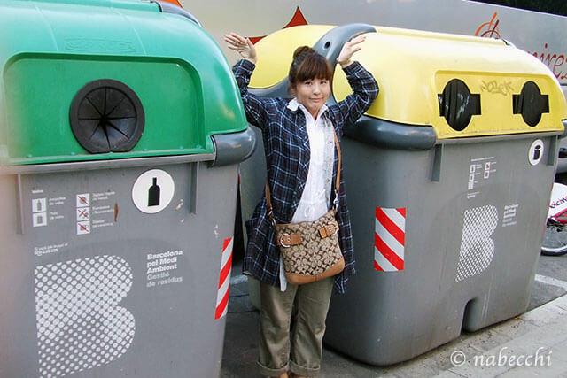 バルセロナ市街のゴミ箱
