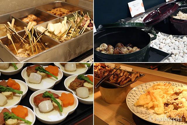 天ぷら、おでん、煮物 夕食バイキング ホテルまほろば
