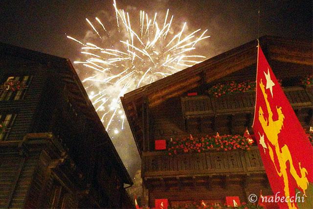 花火 スイス建国記念日ツェルマット
