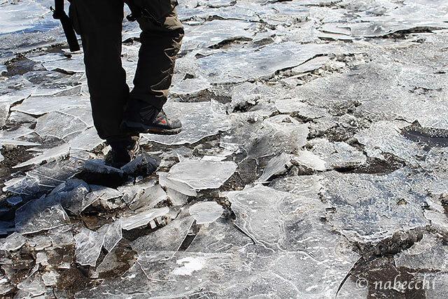 バリバリ凍った草千里ヶ丘