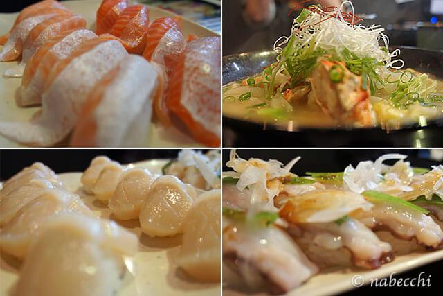サーモン、ホタテ、タコ、カニ汁、回転寿司