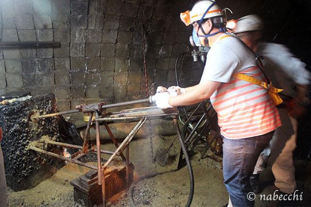削岩機体験 池島炭鉱体験