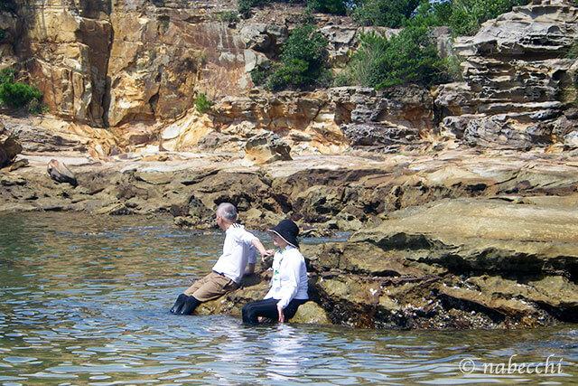 九十九島シーカヤック 老夫婦の無人島水遊び