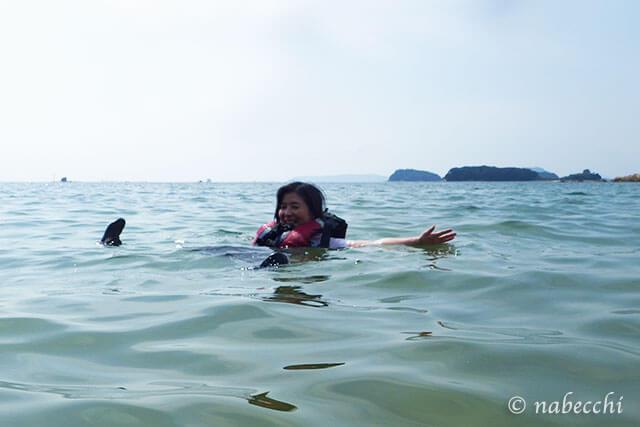 九十九島シーカヤック 無人島水遊び
