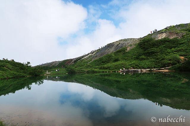 水面に空が映る八方池